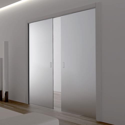 Eclisse Double Glass Pocket Door Complete Package 125mm