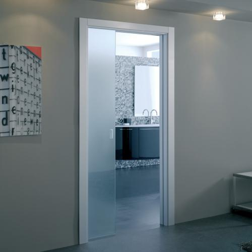 Eclisse Single Glass Pocket Door Complete Package 125mm
