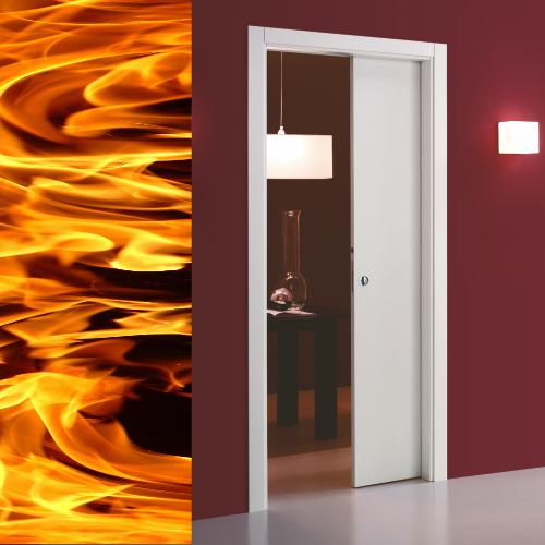 Single fire pocket door