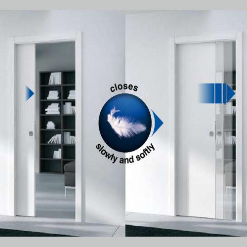 Eclisse single glass pocket door complete package 125mm wall